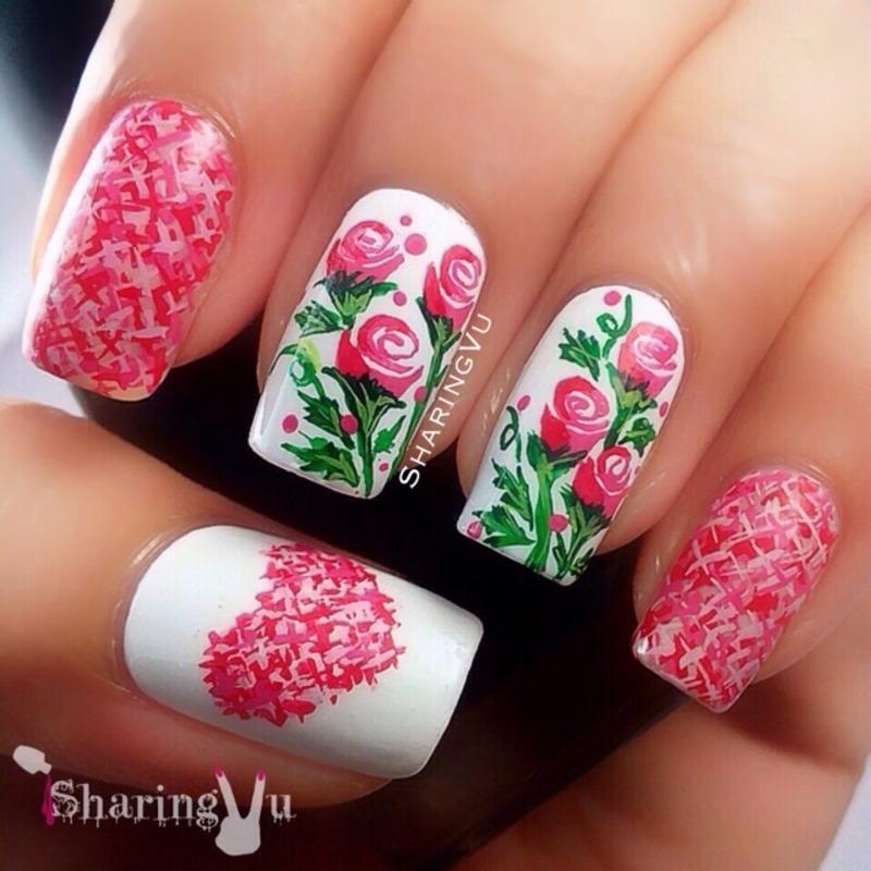 Розовые и красные ногти