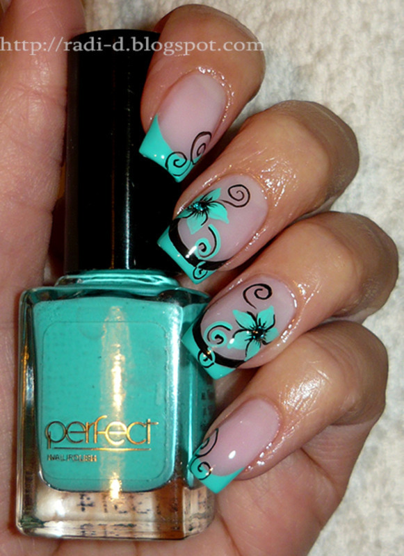 Рисунки для ногтей бирюзового цвета