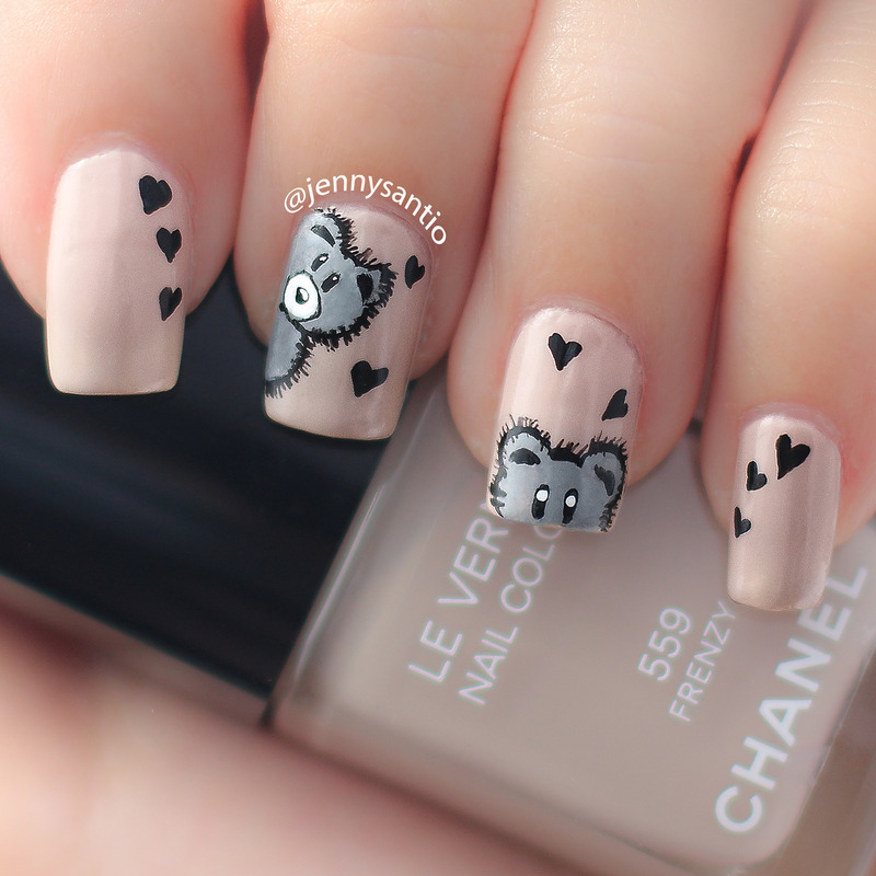 Фото мишки тедди на ногтях