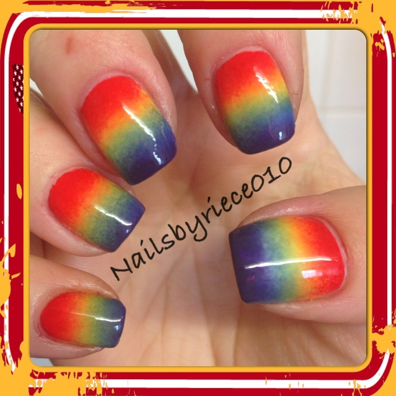 Rainbow Ombre Nails Rainbow Ombre Nail Art by