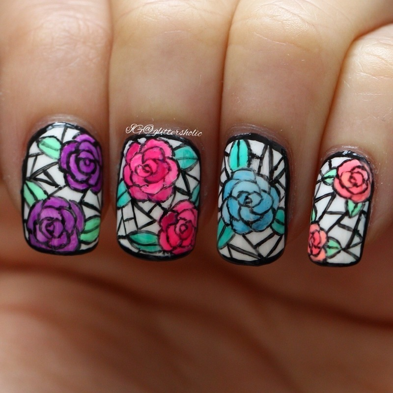 Stained Glass Nail Art: Stained Glass Roses Nail Art By Yen