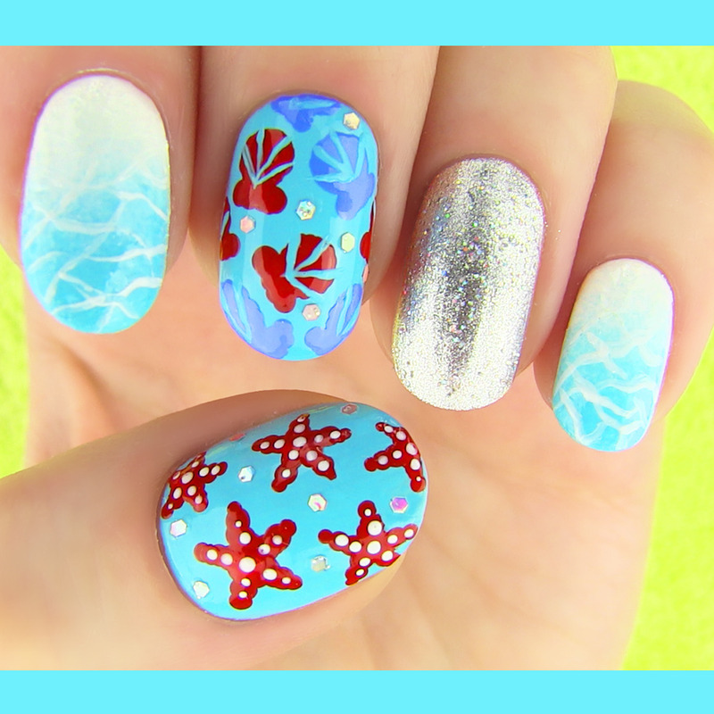 Beach, shells, and starfish summer nails by Sara Beauty Corner - 24 Cute & Colorful Nail Art Designs For SUMMER! Nailpolis Magazine