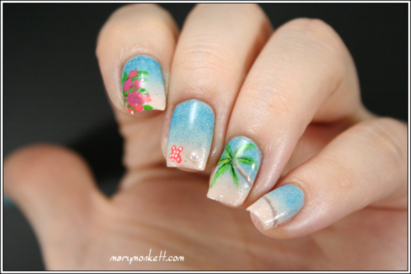 Because we can't get enough of beach nails - 24 Cute & Colorful Nail Art Designs For SUMMER! Nailpolis Magazine