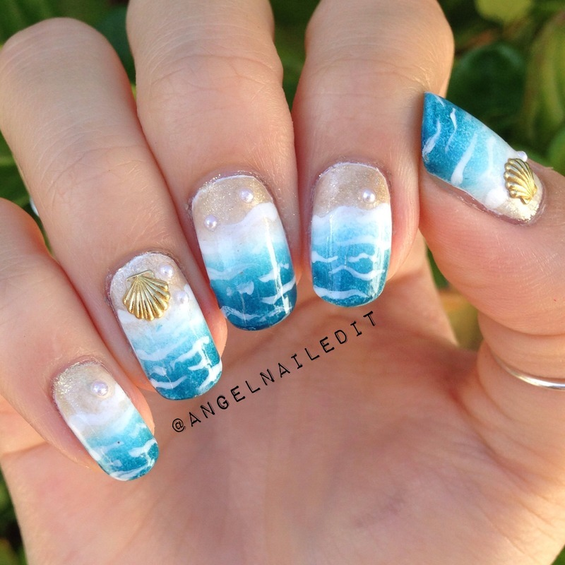 Beach nails with little pearl embellishments - 24 Cute & Colorful Nail Art Designs For SUMMER! Nailpolis Magazine