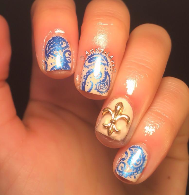 Paisley Nail Art: Paisley Nails With Charm Accent Nail Art By AH Nail Art