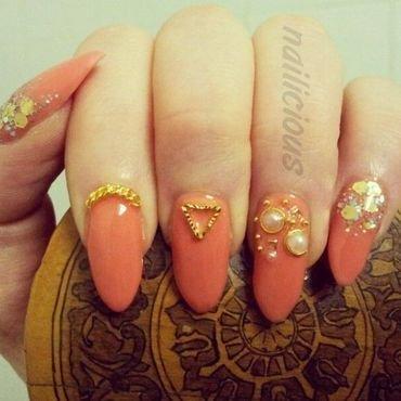 Orange nails nail art by nailicious_1