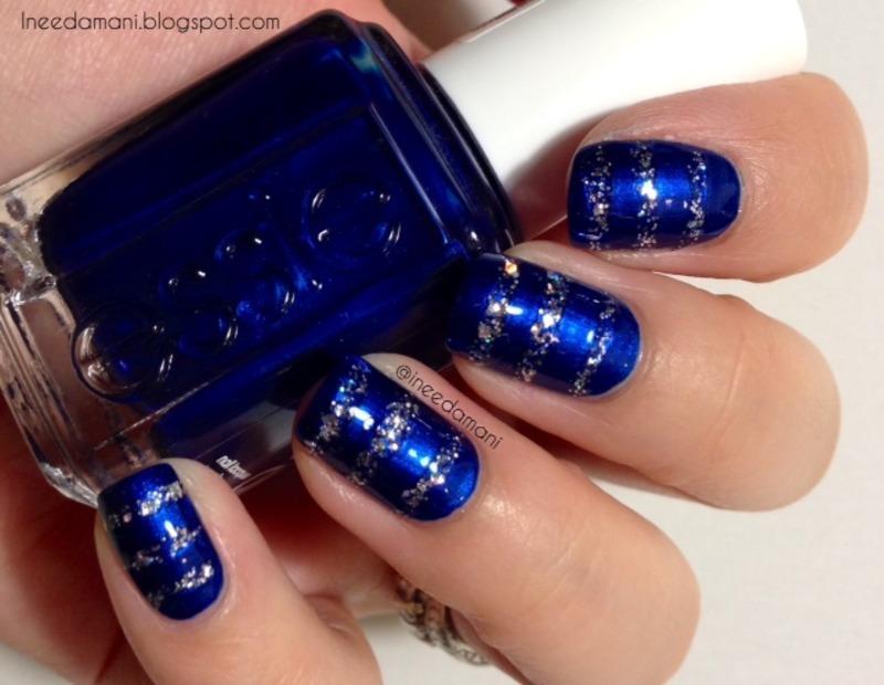 Aruba blue and silver glitter stripes nail art by Carmen Ineedamani ...