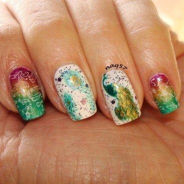Golden Peacock nail art by Nora (naq57)