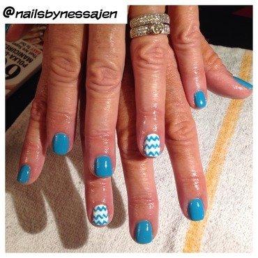 Blue Chevron nail art by Vanessa Jenelle