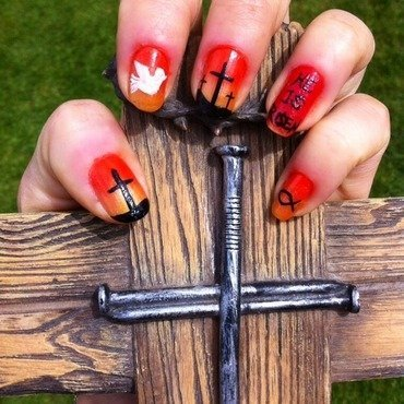 Easter crucifixion.... nail art by Charlotte Speller