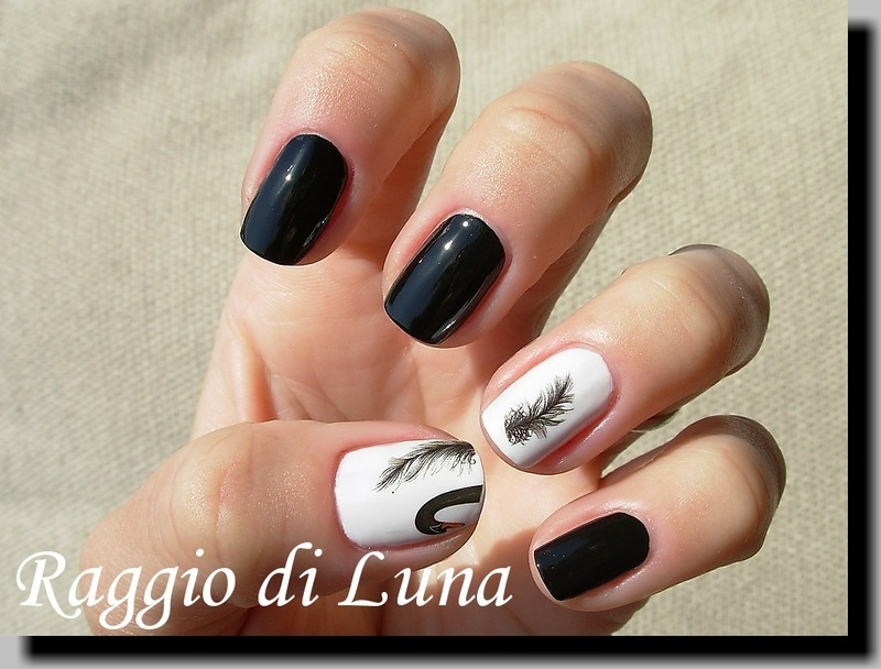 Swan feather water decals nail art by Tanja