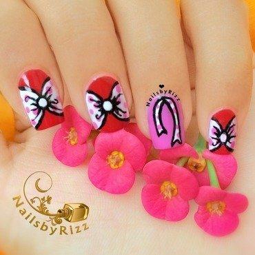 Polka-dotted bows nail art by Nailsbyrizz
