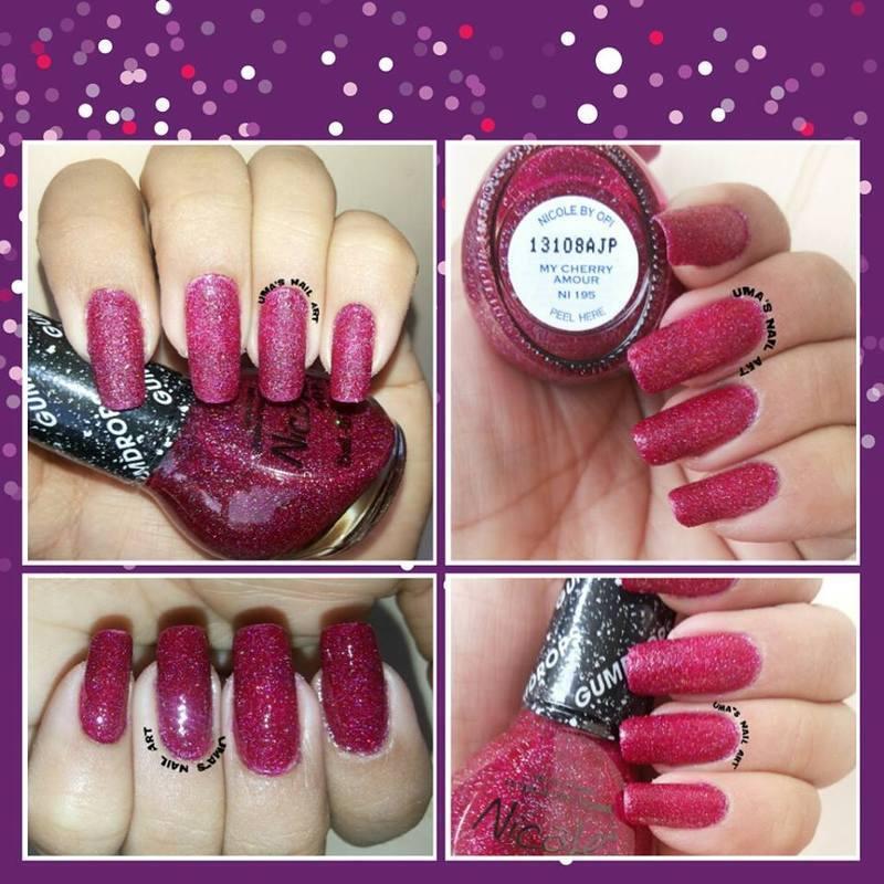 Nicole by OPI My Cherry ?Anour ni 195 Swatch nail art by Uma mathur