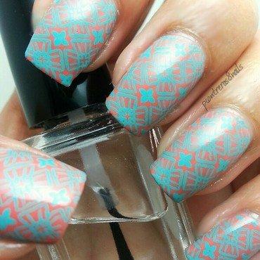 Coral and Aqua Crossings  nail art by pcontreras8nails