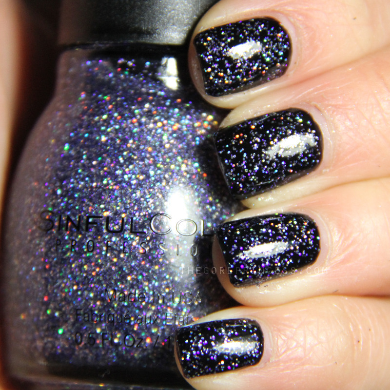 SinfulColors Top Me Off over black nail art by Paulina