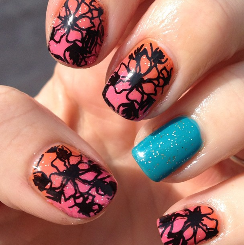 Totally tropical nail art by Helen