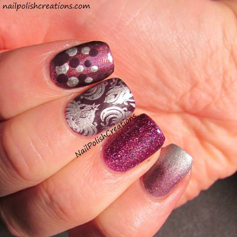 Purple Skittle nail art by Lisa