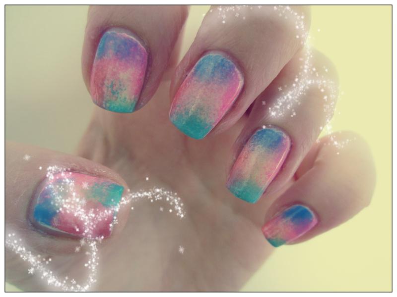 Multicolour Sponging nail art by Rachel