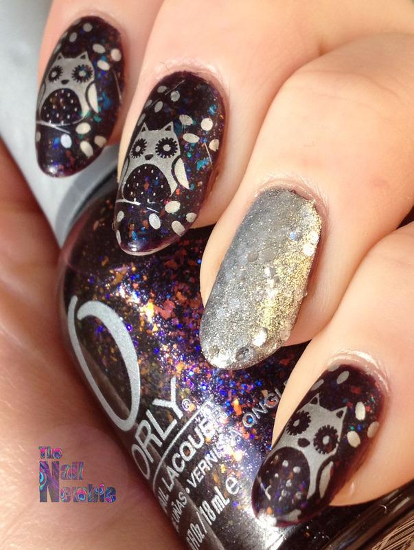 Merry Owlmas nail art by Helen