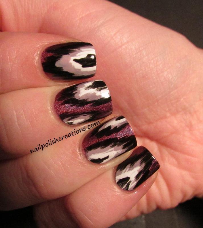 Purple Ikat nail art by Lisa