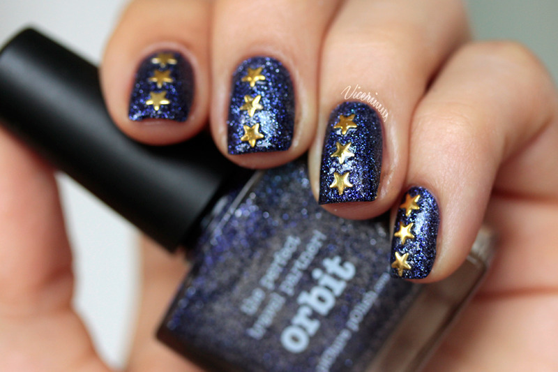 Studded Orbit nail art by Yulia