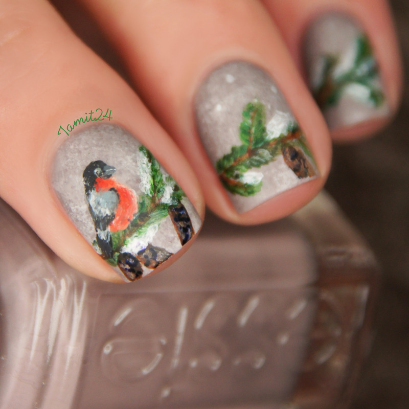 Winter Bird nails nail art by Paulina