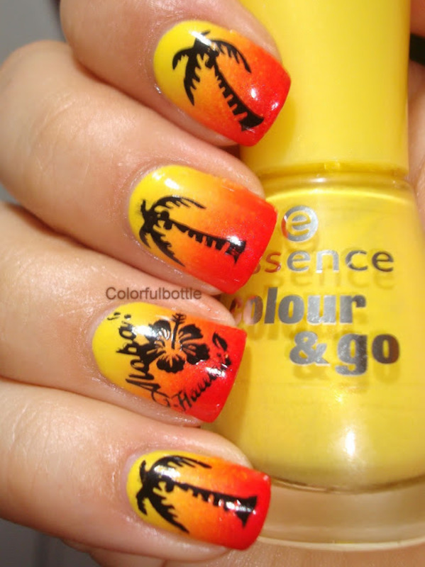 beach sunset  nail art by Dolores