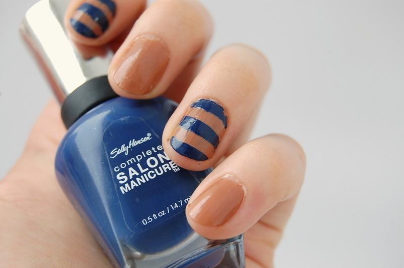 nautical navy nail art by Natasha