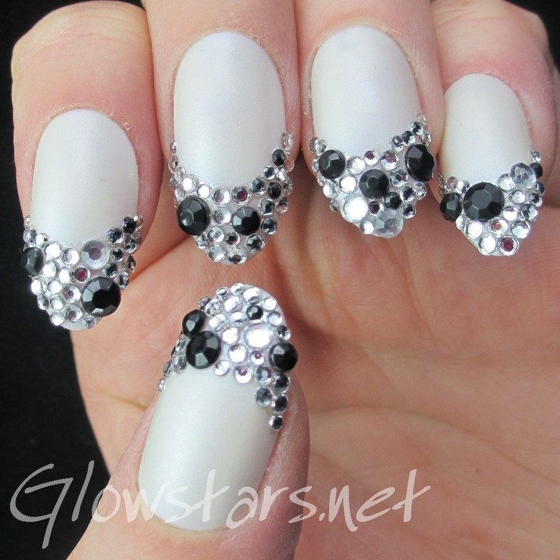 The Digit-Al Dozen Does Black N White: Rhinestone French nail art by Vic 'Glowstars' Pires