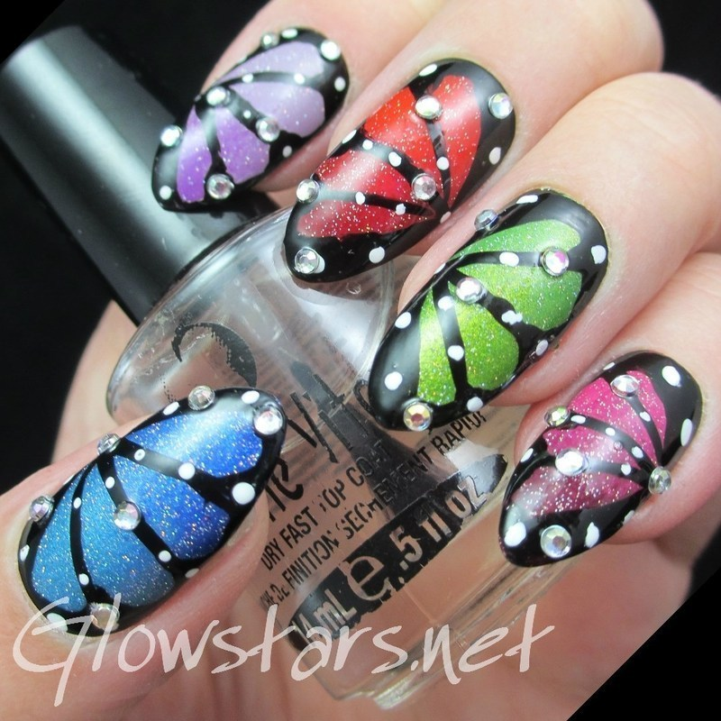 The Digit-al Dozen Does Skittles: Butterfly Skittles nail art by Vic 'Glowstars' Pires