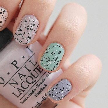 rainbow confetti nail art by Natasha