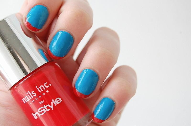 red and blue nail art by Natasha