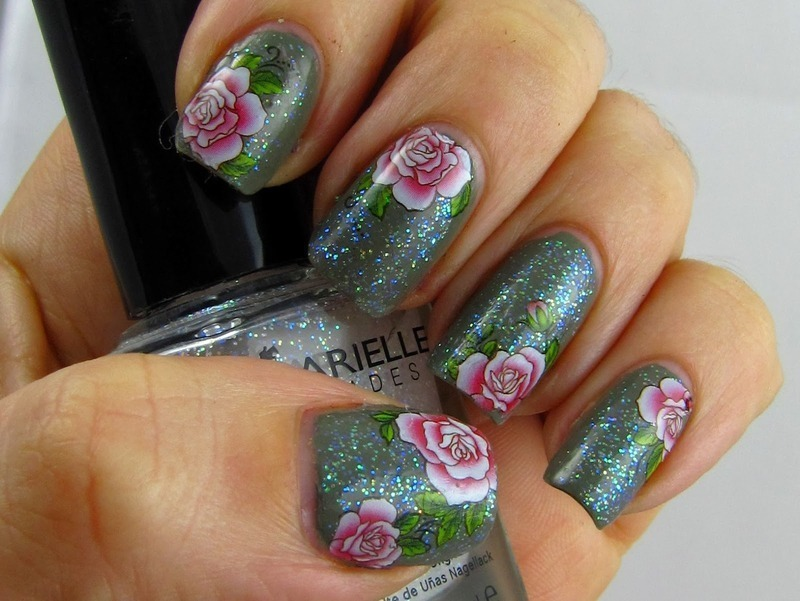 Sparkling Roses nail art by Amanda Thompson