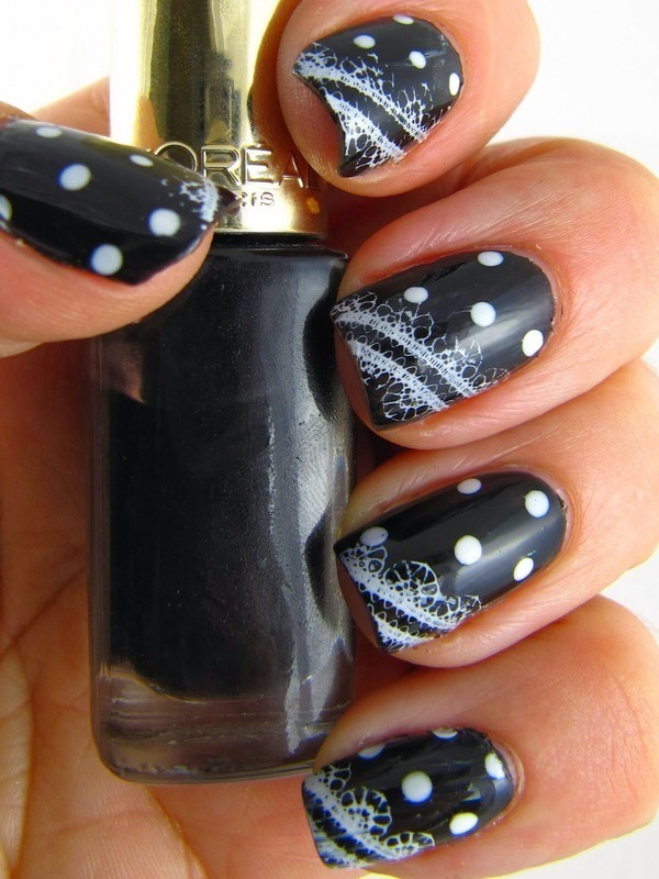 Black and White Lace and Polka Dots nail art by Amanda Thompson