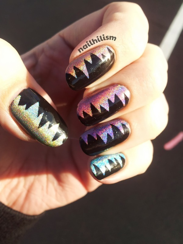 Holo Zig-Zags nail art by Harriet Lockett