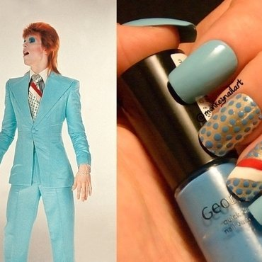 David Bowie Inspired Nails nail art by Rachel