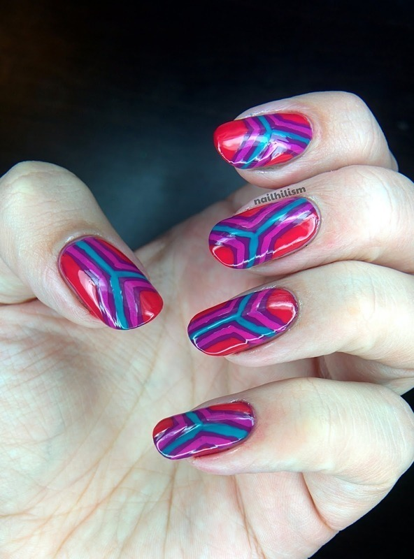 Freehand Geometry nail art by Harriet Lockett