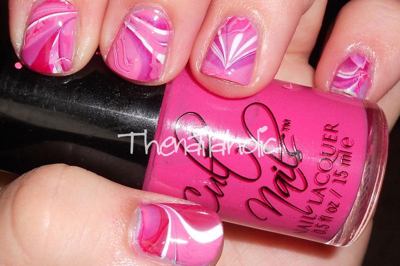 Valentine Watermarble nail art by Katie