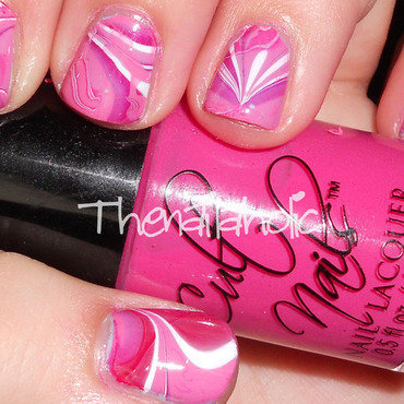 Valentine Watermarble nail art by Katie