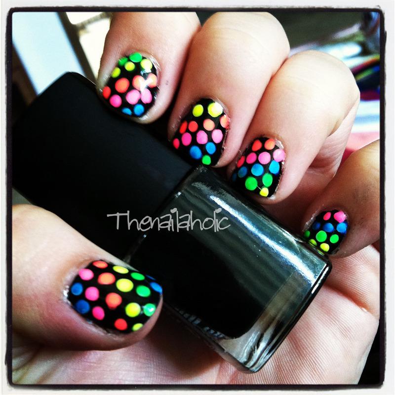 Neon Polka!  nail art by Katie