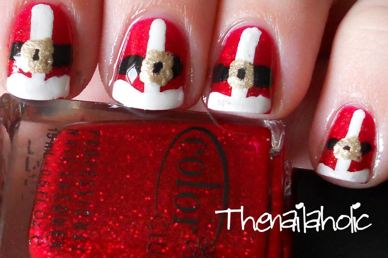 Here Comes Santa!  nail art by Katie