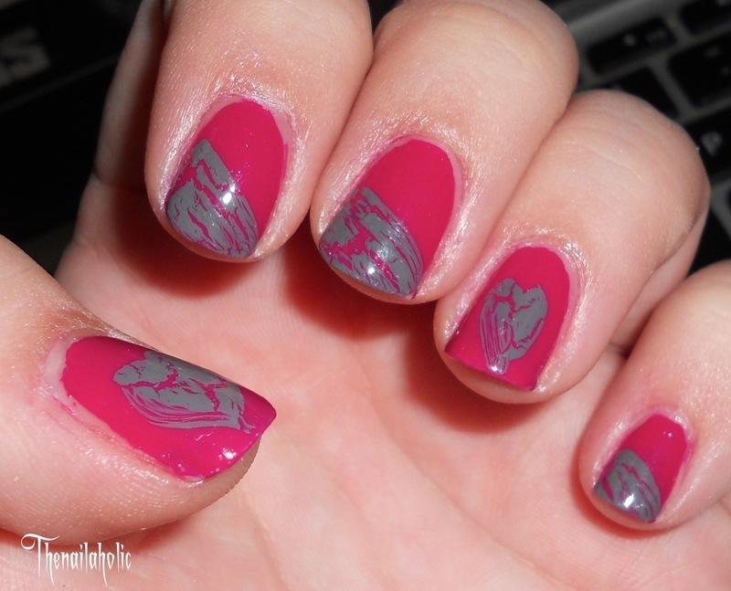 Broken Hearts nail art by Katie