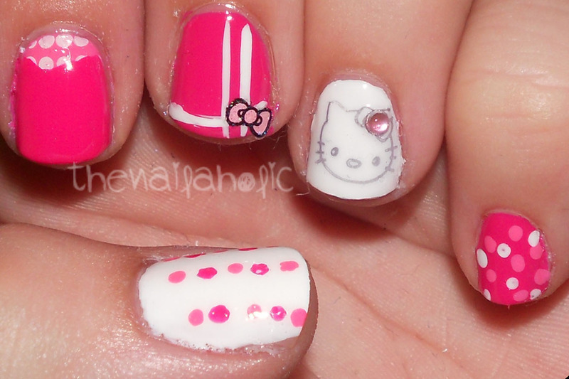 Kitty and her bows nail art by Katie