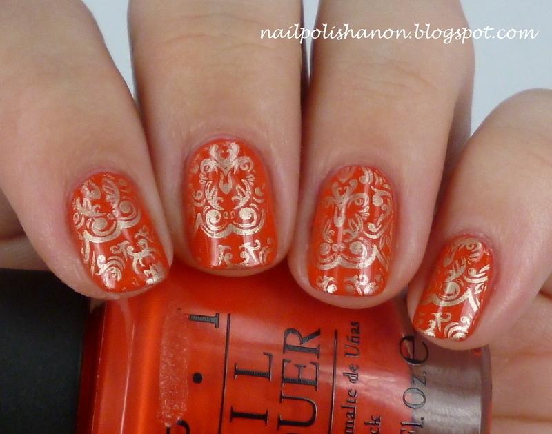 Gold Patterned Wallpaper nail art by NailPolishAnon