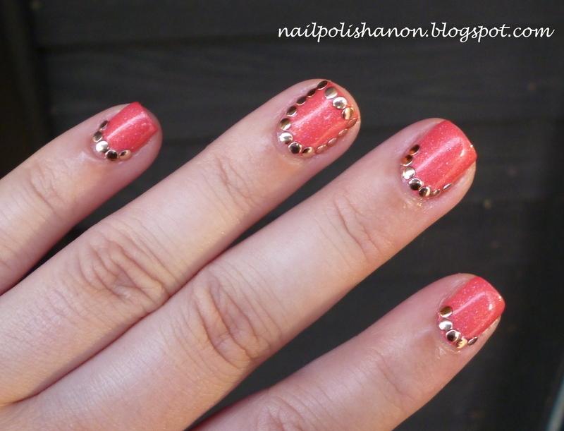 Rose Gold Studs nail art by NailPolishAnon