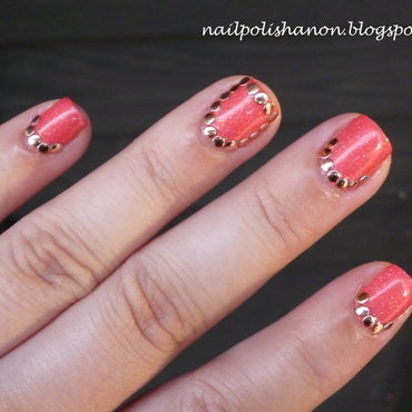 Rose Gold Studs nail art by NailPolishAnon