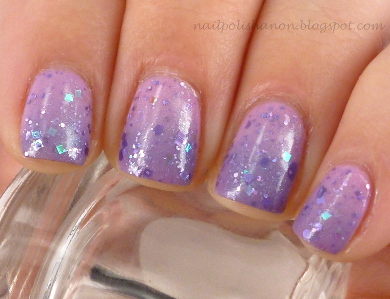 Sparkly Purple & Pink Gradient nail art by NailPolishAnon