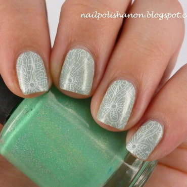 Minty Emily de Molly Stamp nail art by NailPolishAnon