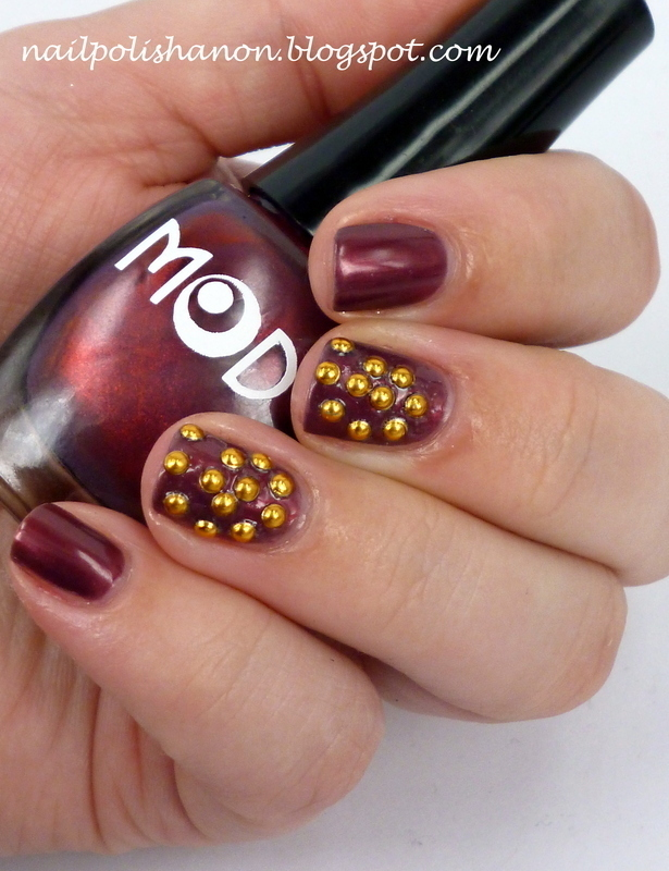 Studded Swirls nail art by NailPolishAnon
