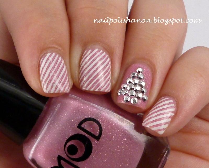 Pink Candy Cane Christmas Tree nail art by NailPolishAnon